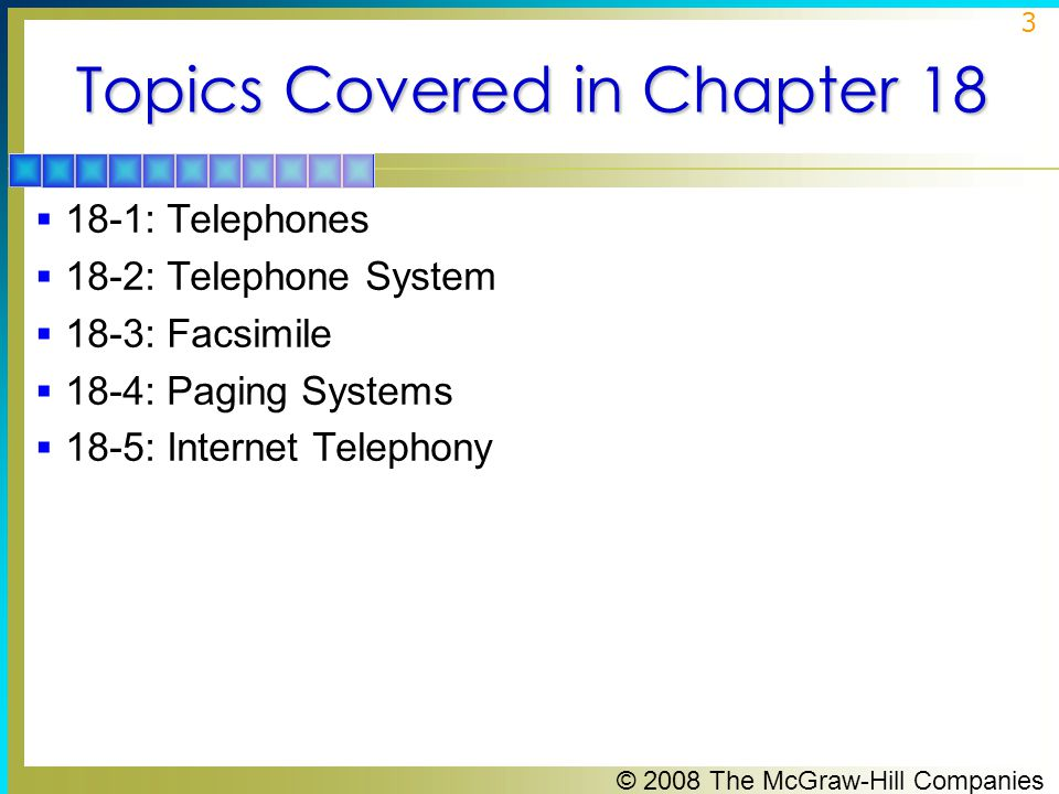 Topics Covered in Chapter 18
