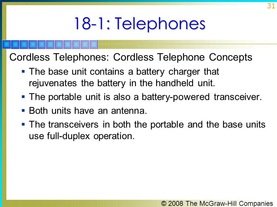 18-1: Telephones Cordless Telephones: Cordless Telephone Concepts