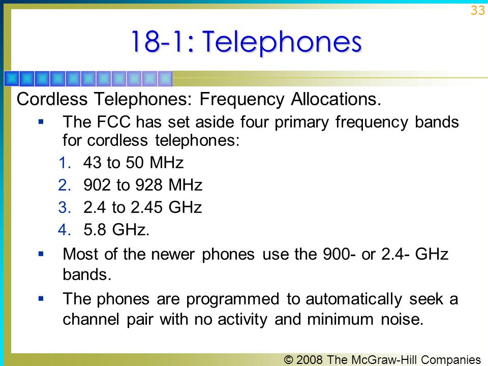 18-1: Telephones Cordless Telephones: Frequency Allocations.