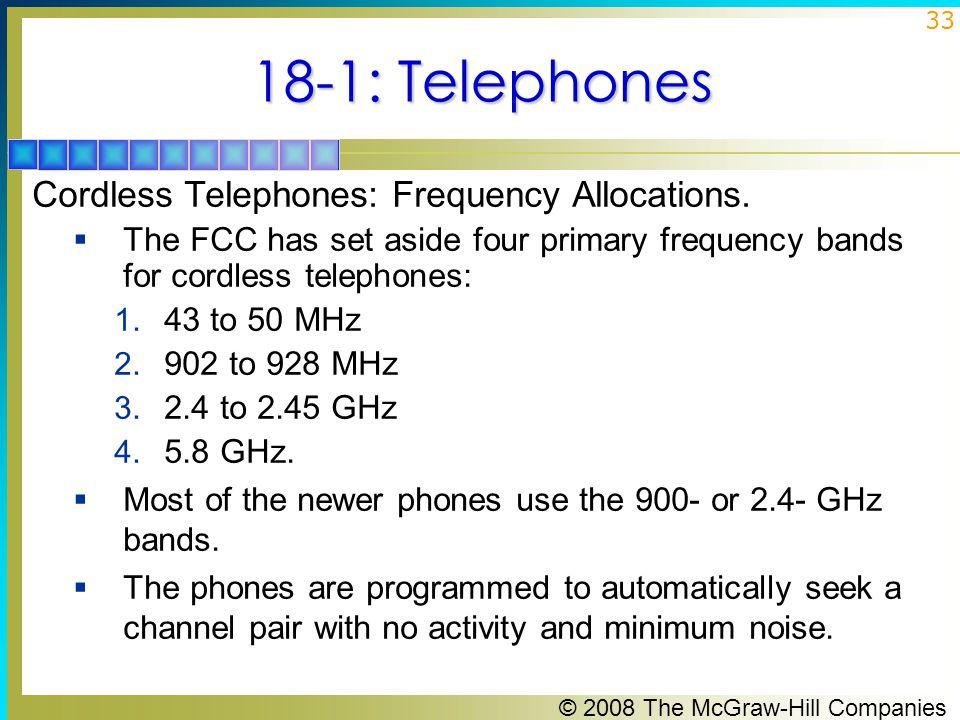 18-1: Telephones Cordless Telephones: Frequency Allocations.