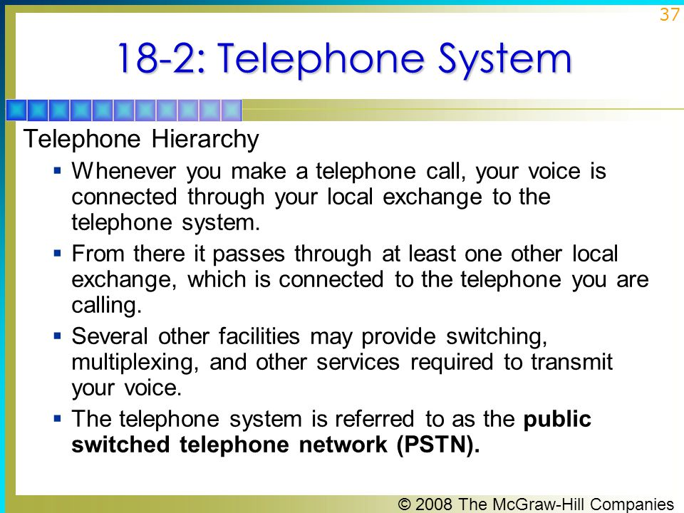 18-2: Telephone System Telephone Hierarchy