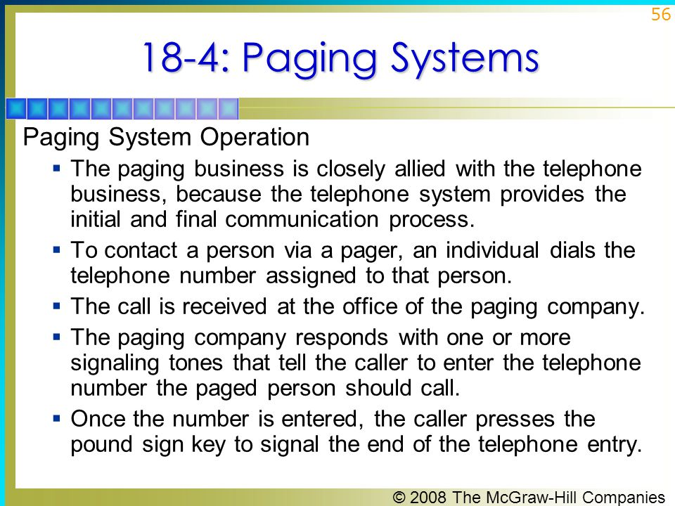 18-4: Paging Systems Paging System Operation