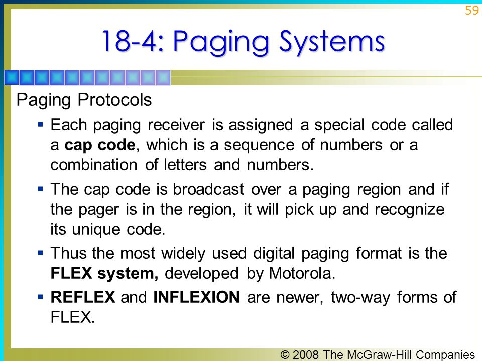 18-4: Paging Systems Paging Protocols
