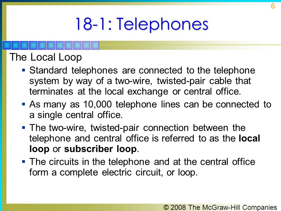 18-1: Telephones The Local Loop