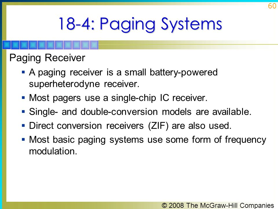 18-4: Paging Systems Paging Receiver