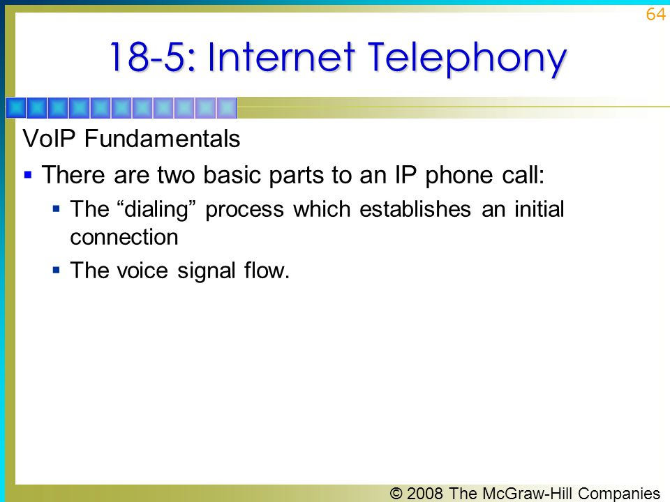 18-5: Internet Telephony VoIP Fundamentals