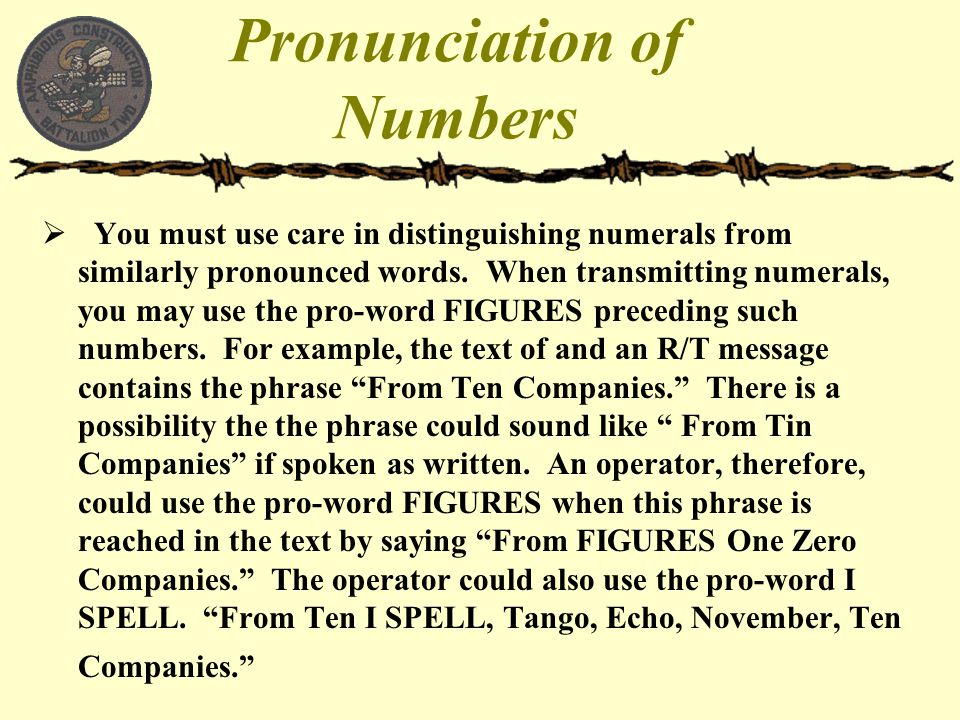 Pronunciation of Numbers