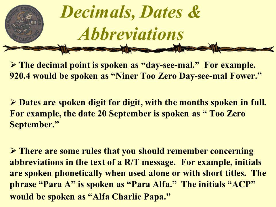 Decimals, Dates & Abbreviations