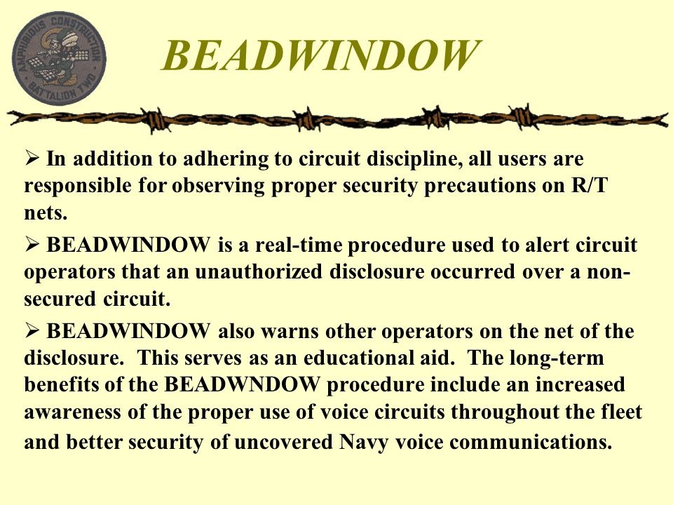 BEADWINDOW In addition to adhering to circuit discipline, all users are responsible for observing proper security precautions on R/T nets.