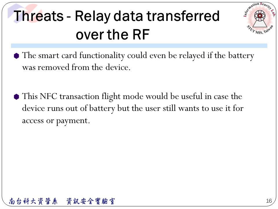 Threats - Relay data transferred over the RF