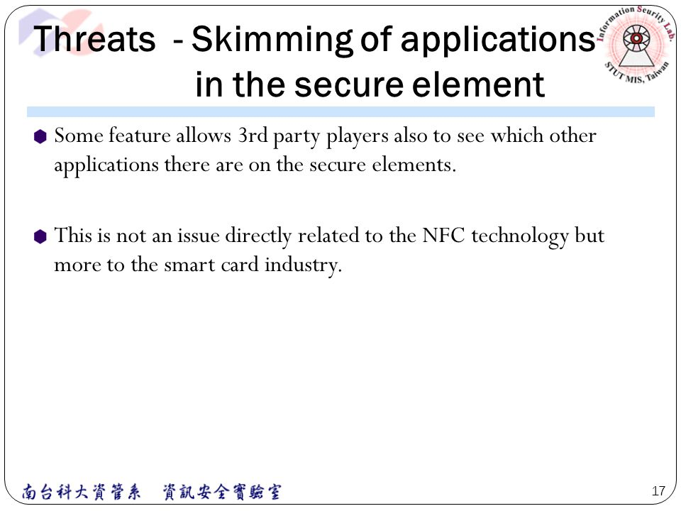 Threats - Skimming of applications in the secure element