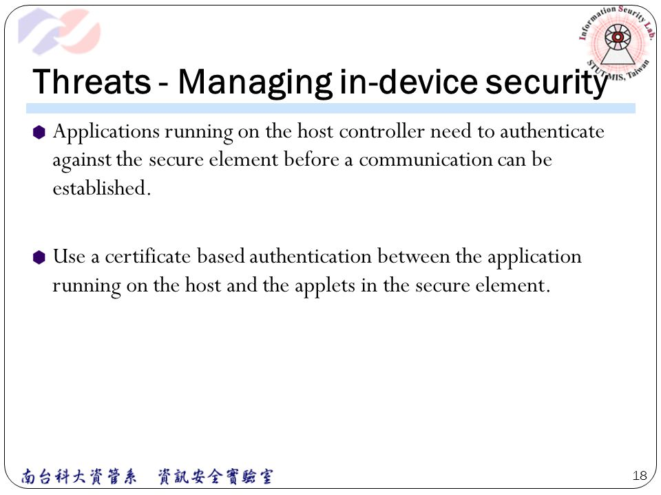 Threats - Managing in-device security