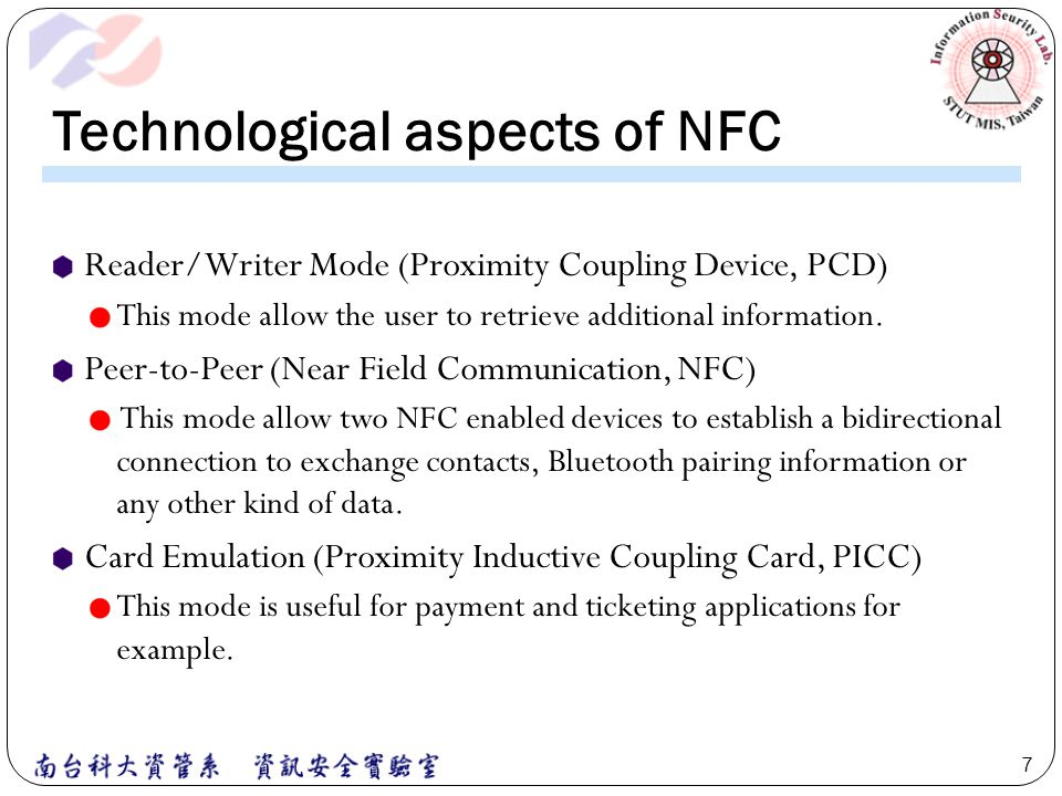 Technological aspects of NFC