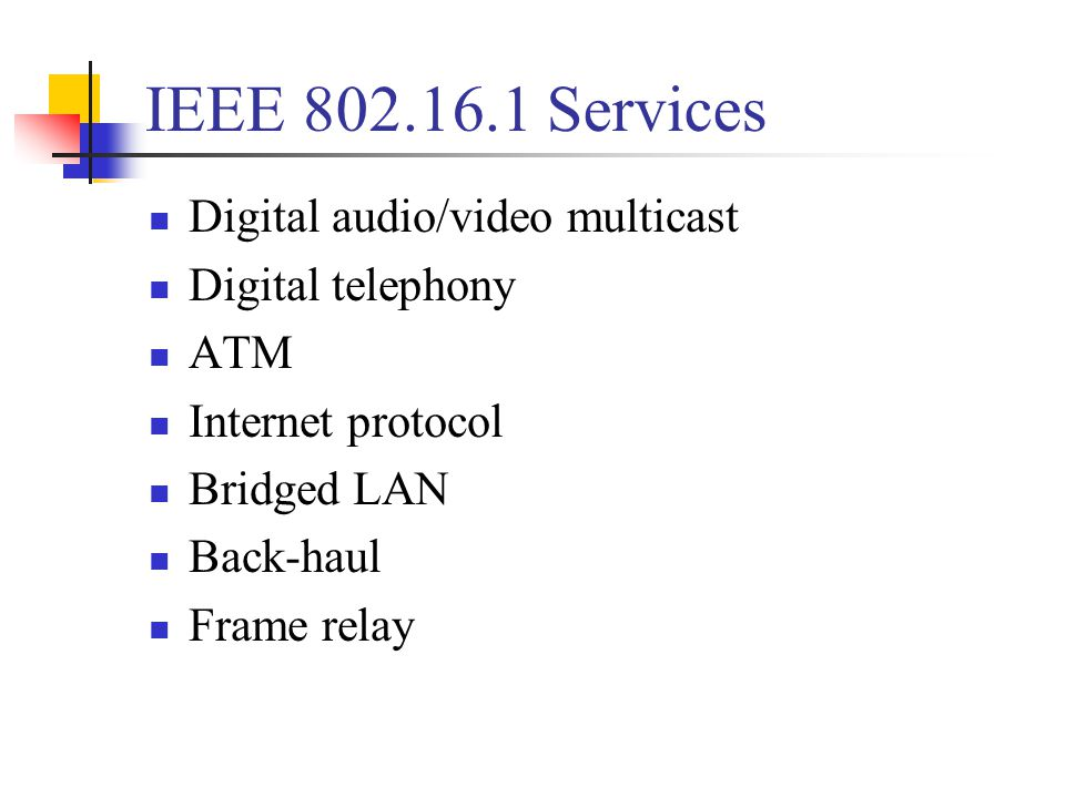 IEEE 802.16.1 Services Digital audio/video multicast Digital telephony