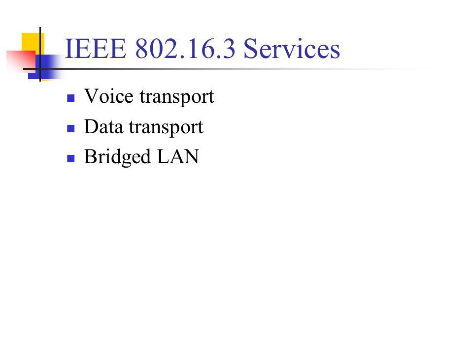 IEEE 802.16.3 Services Voice transport Data transport Bridged LAN