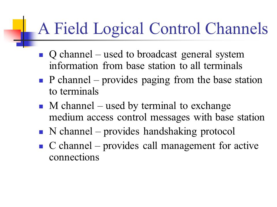 A Field Logical Control Channels