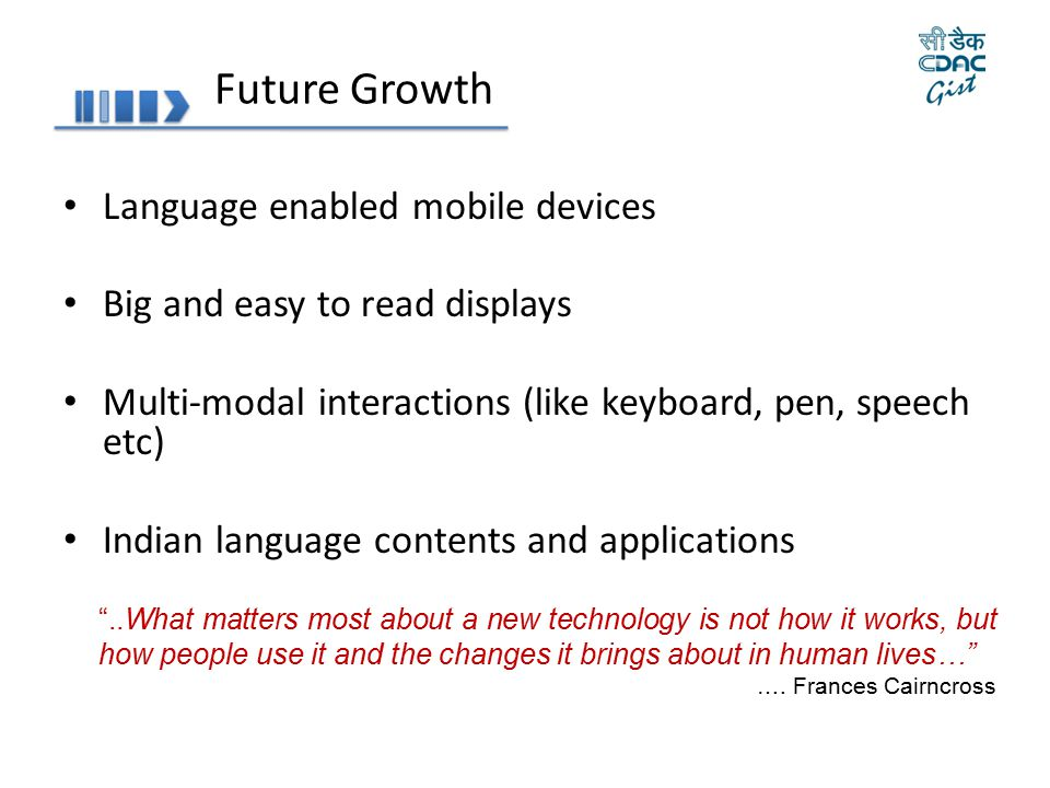 Future Growth Language enabled mobile devices
