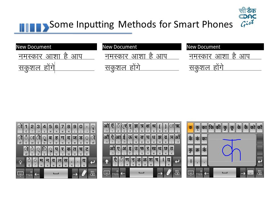 Some Inputting Methods for Smart Phones