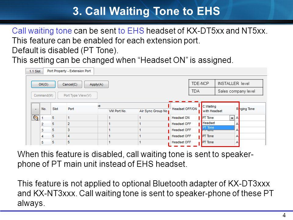 3. Call Waiting Tone to EHS