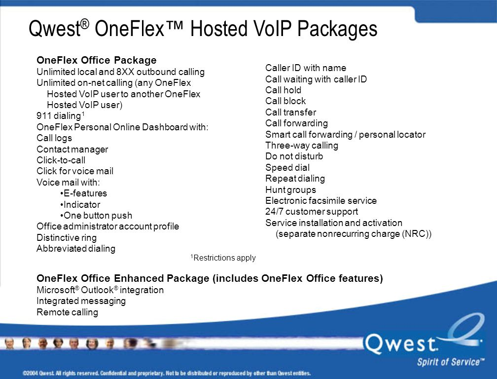 Qwest® OneFlex™ Hosted VoIP Packages