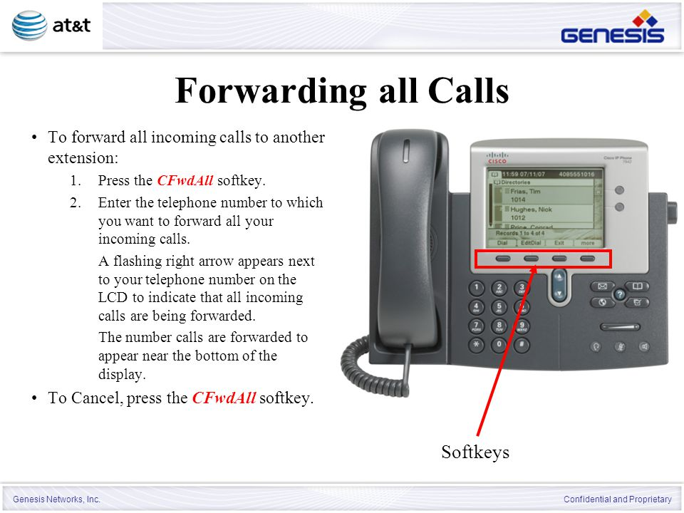 Forwarding all Calls Softkeys