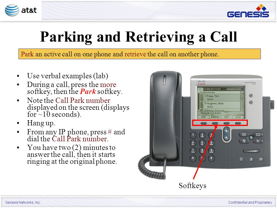 Parking and Retrieving a Call