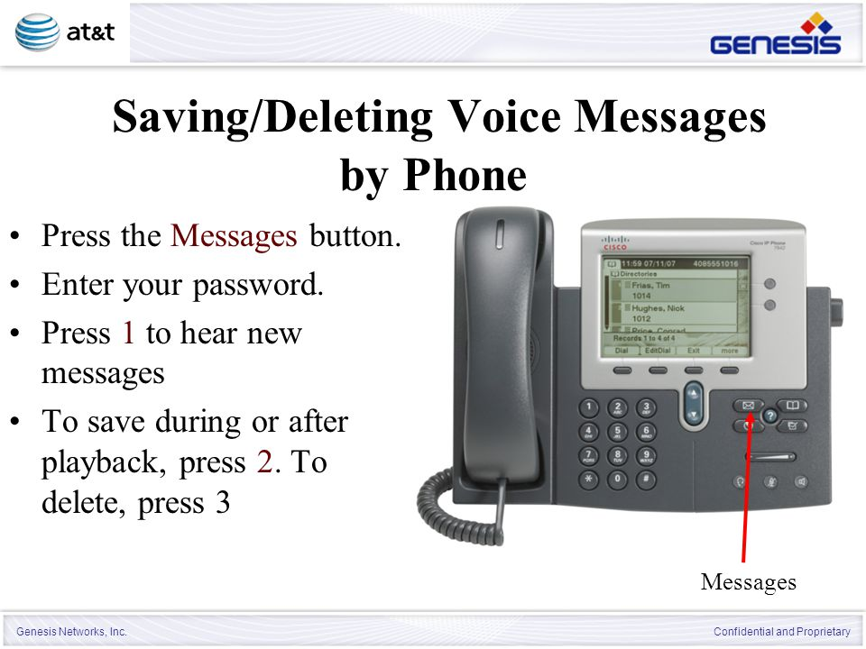 Saving/Deleting Voice Messages by Phone