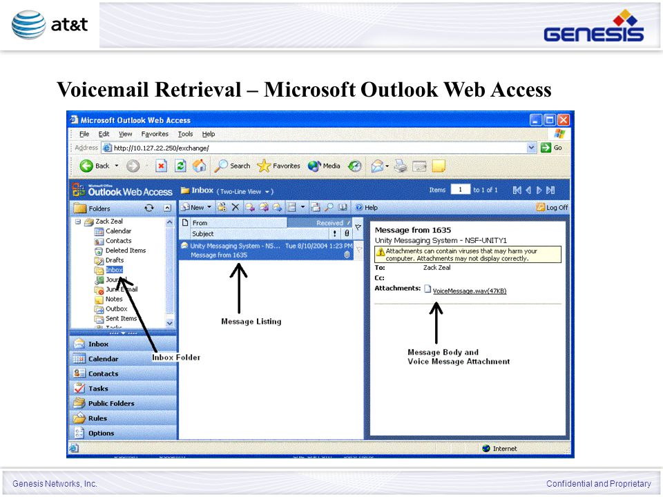 Voicemail Retrieval – Microsoft Outlook Web Access