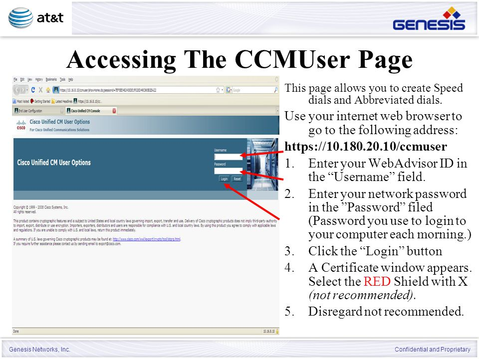 Accessing The CCMUser Page