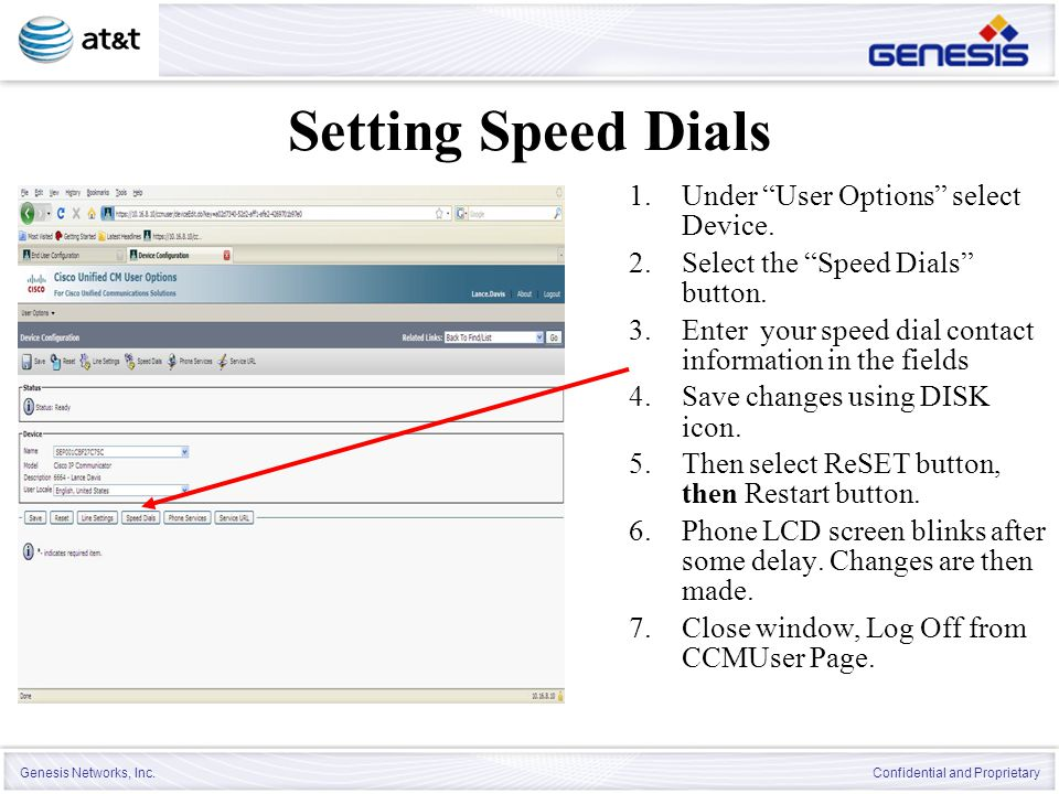 Setting Speed Dials Under User Options select Device.
