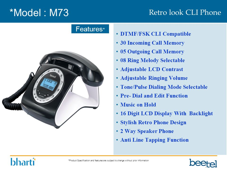 *Model : M73 Retro look CLI Phone DTMF/FSK CLI Compatible
