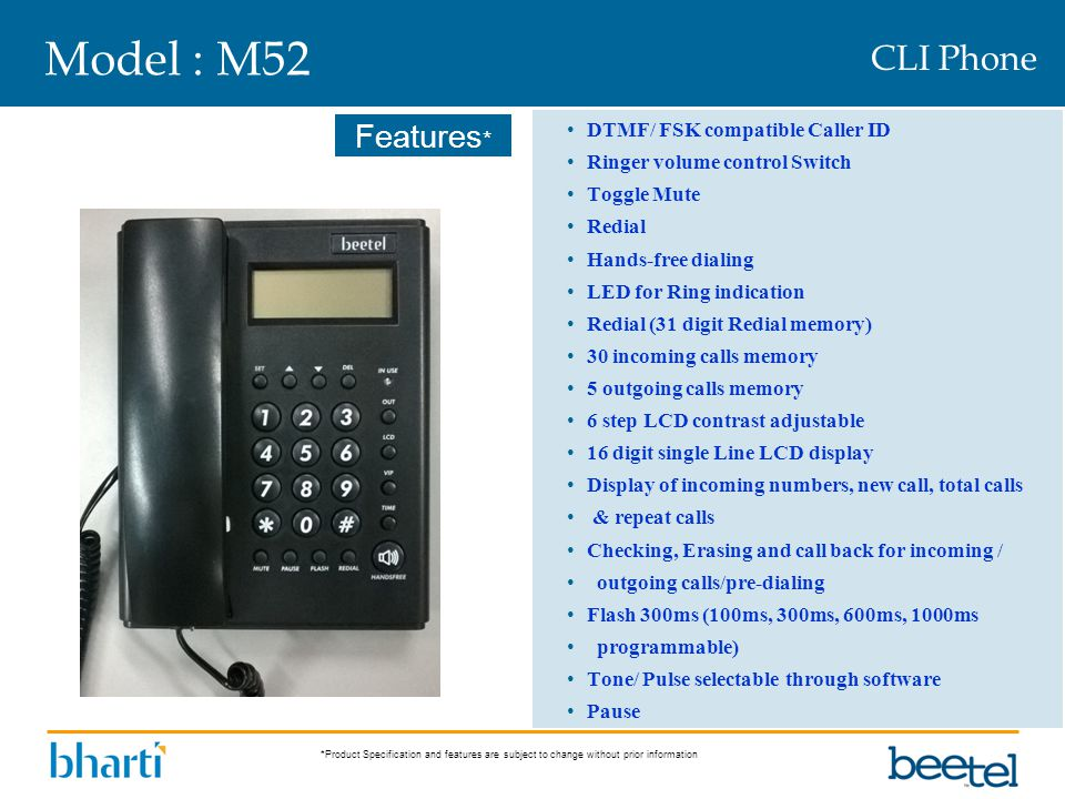 Model : M52 CLI Phone DTMF/ FSK compatible Caller ID