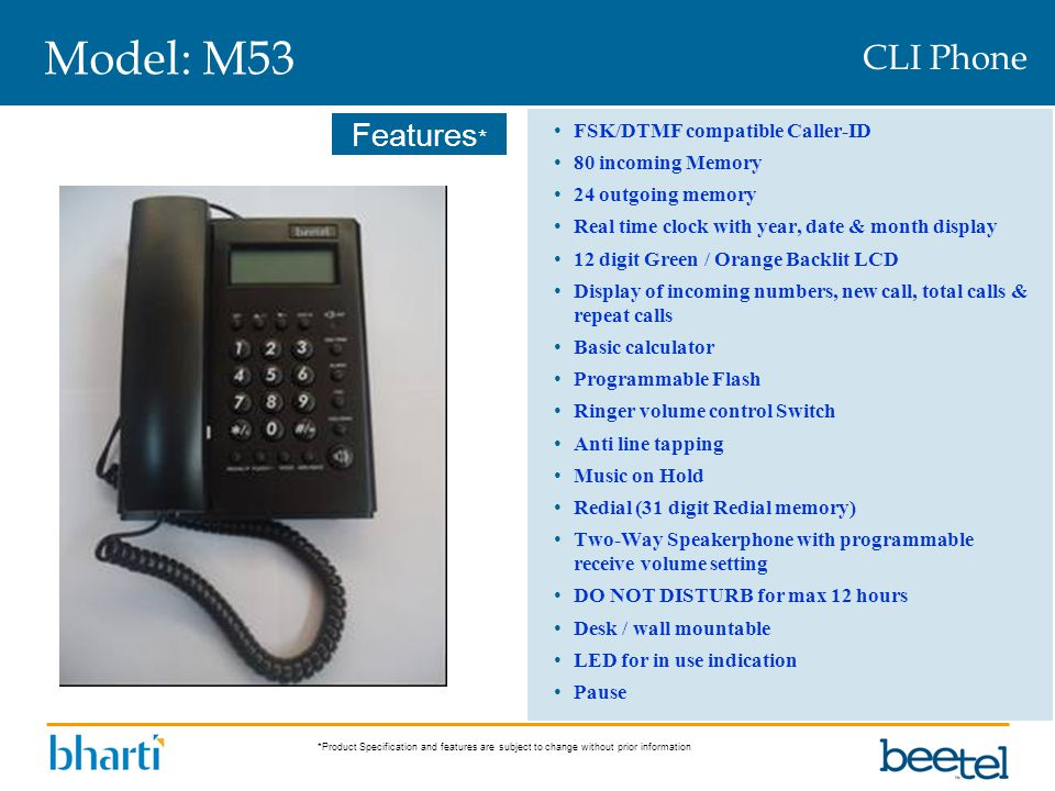 Model: M53 CLI Phone FSK/DTMF compatible Caller-ID 80 incoming Memory