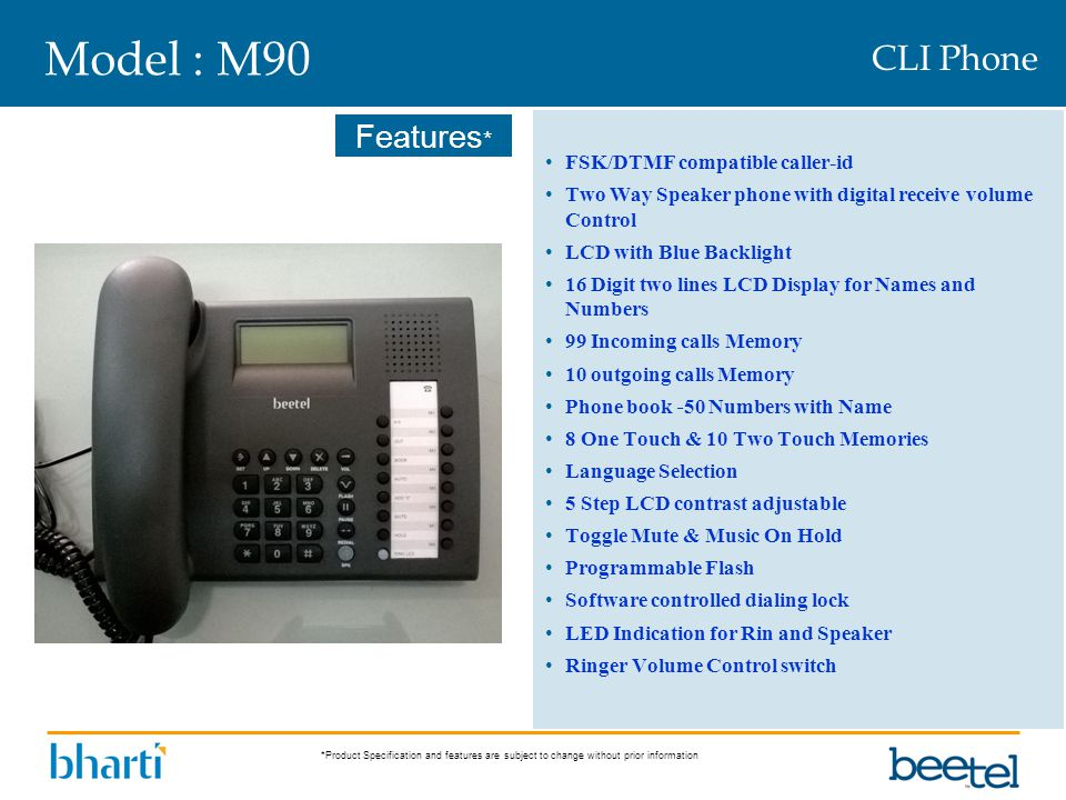 Model : M90 CLI Phone FSK/DTMF compatible caller-id
