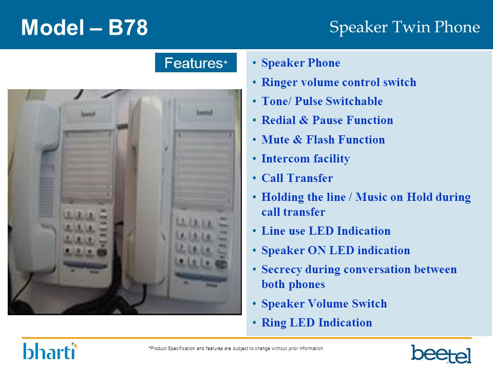 Model – B78 Speaker Twin Phone Speaker Phone