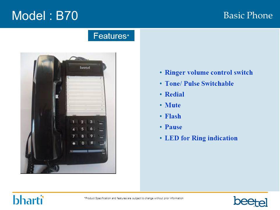 Model : B70 Basic Phone Ringer volume control switch