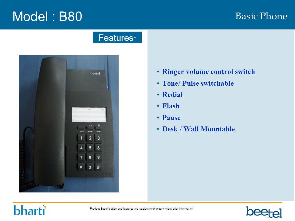 Model : B80 Basic Phone Ringer volume control switch