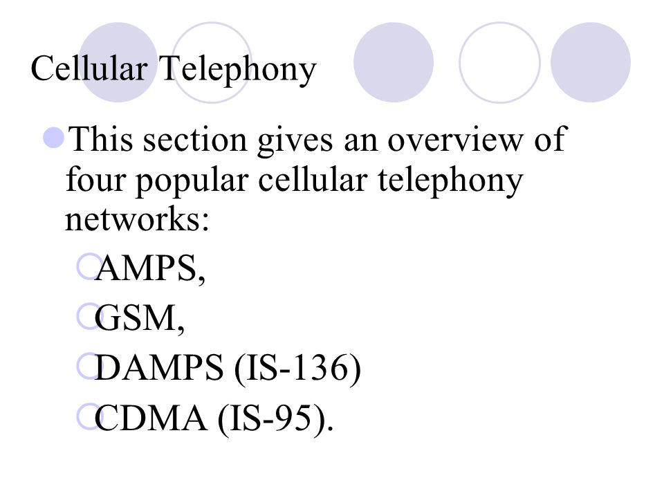 AMPS, GSM, DAMPS (IS‑136) CDMA (IS‑95). Cellular Telephony
