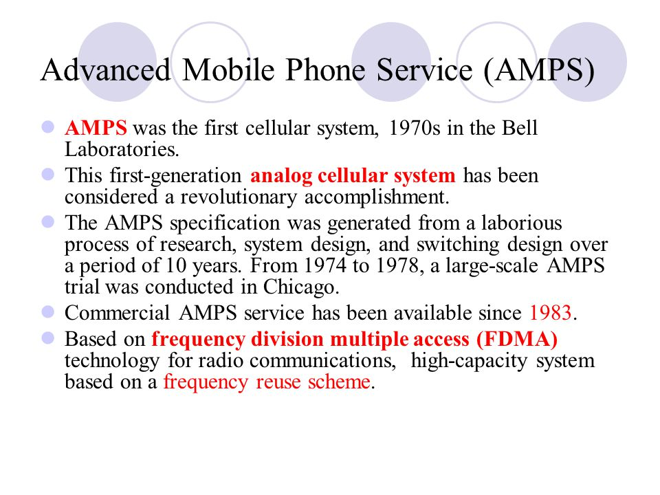 Advanced Mobile Phone Service (AMPS)