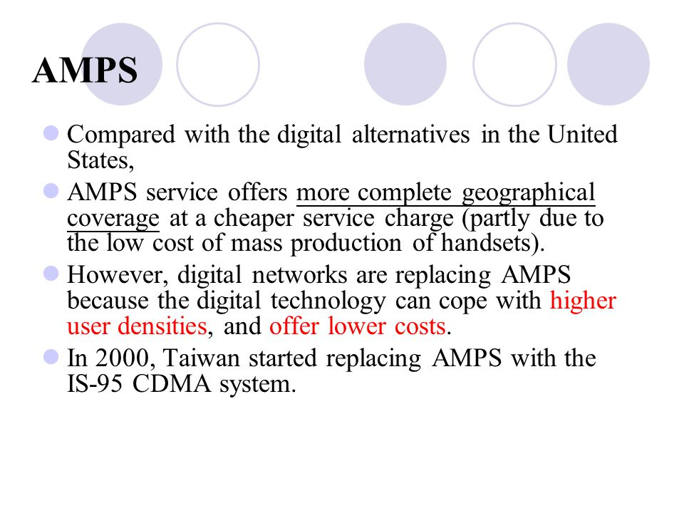 AMPS Compared with the digital alternatives in the United States,