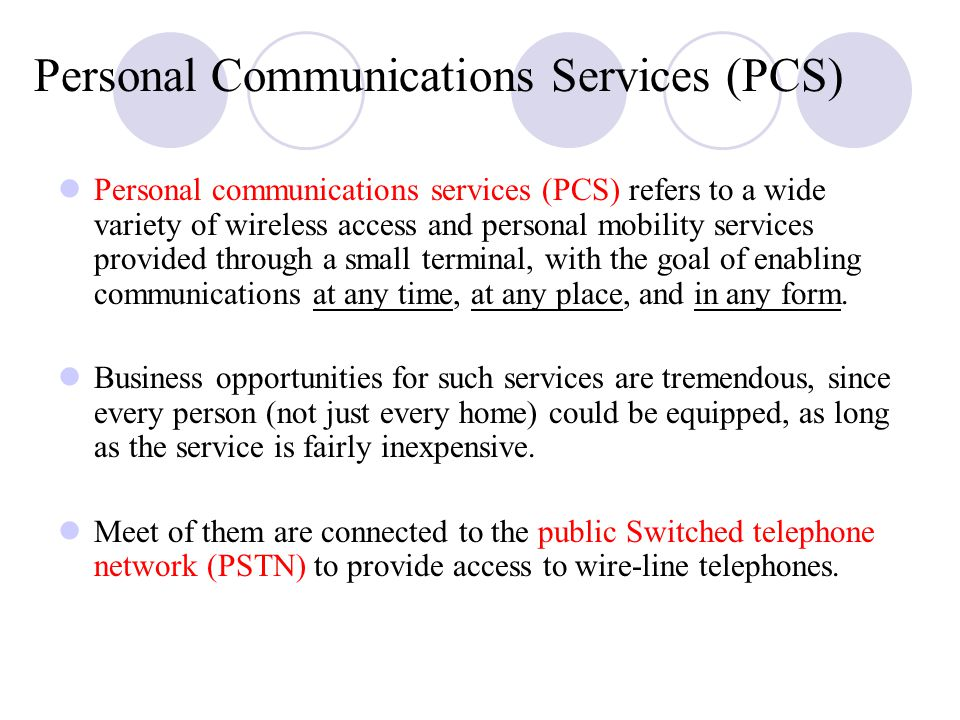 Personal Communications Services (PCS)