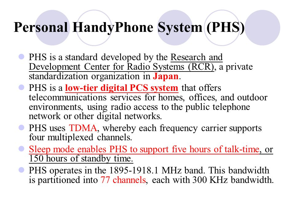Personal HandyPhone System (PHS)