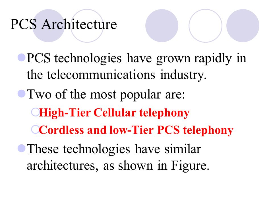 PCS Architecture PCS technologies have grown rapidly in the telecommunications industry. Two of the most popular are: