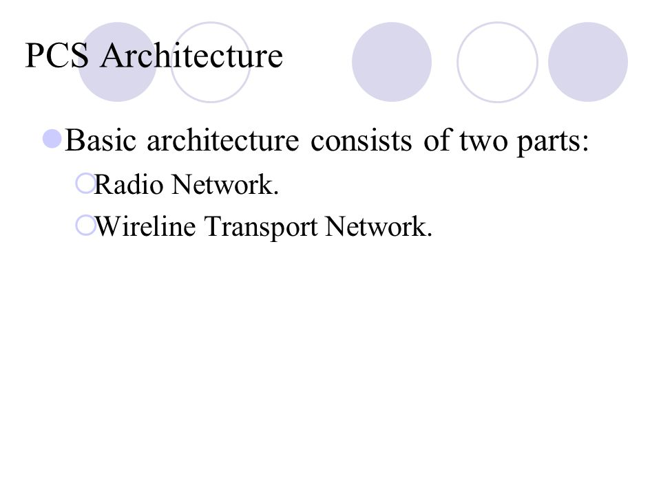 PCS Architecture Basic architecture consists of two parts: