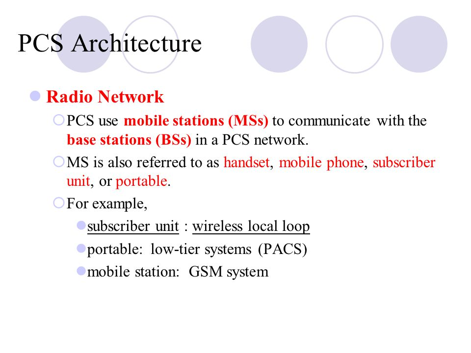 PCS Architecture Radio Network