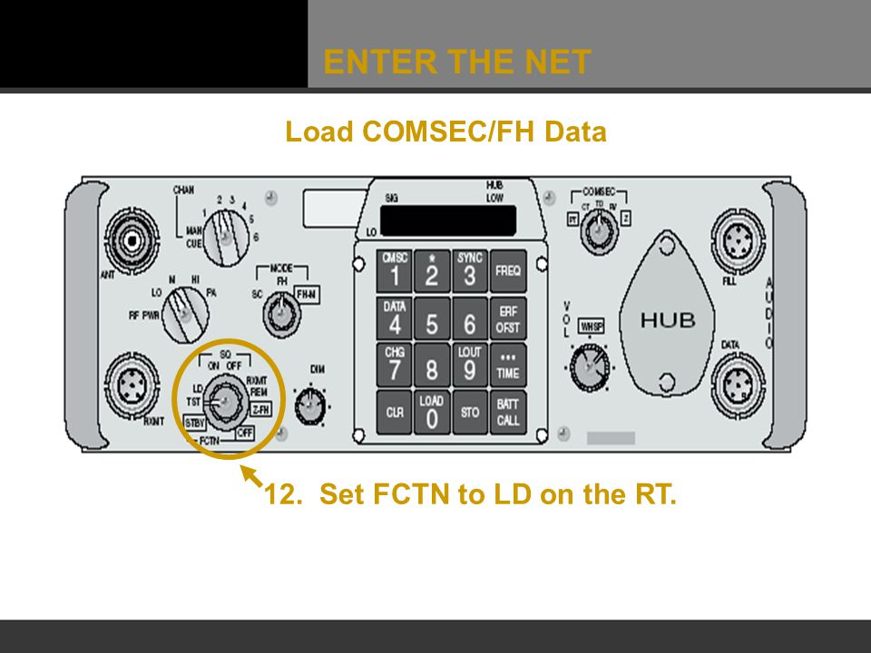 ENTER THE NET Load COMSEC/FH Data 12. Set FCTN to LD on the RT.