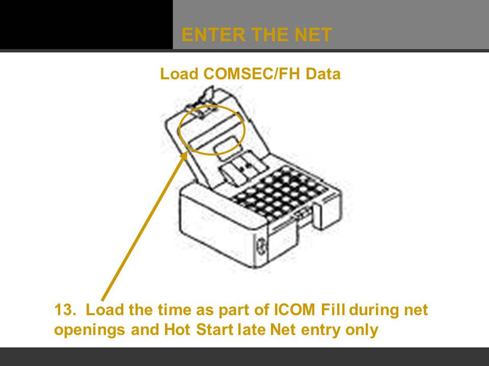 ENTER THE NET Load COMSEC/FH Data