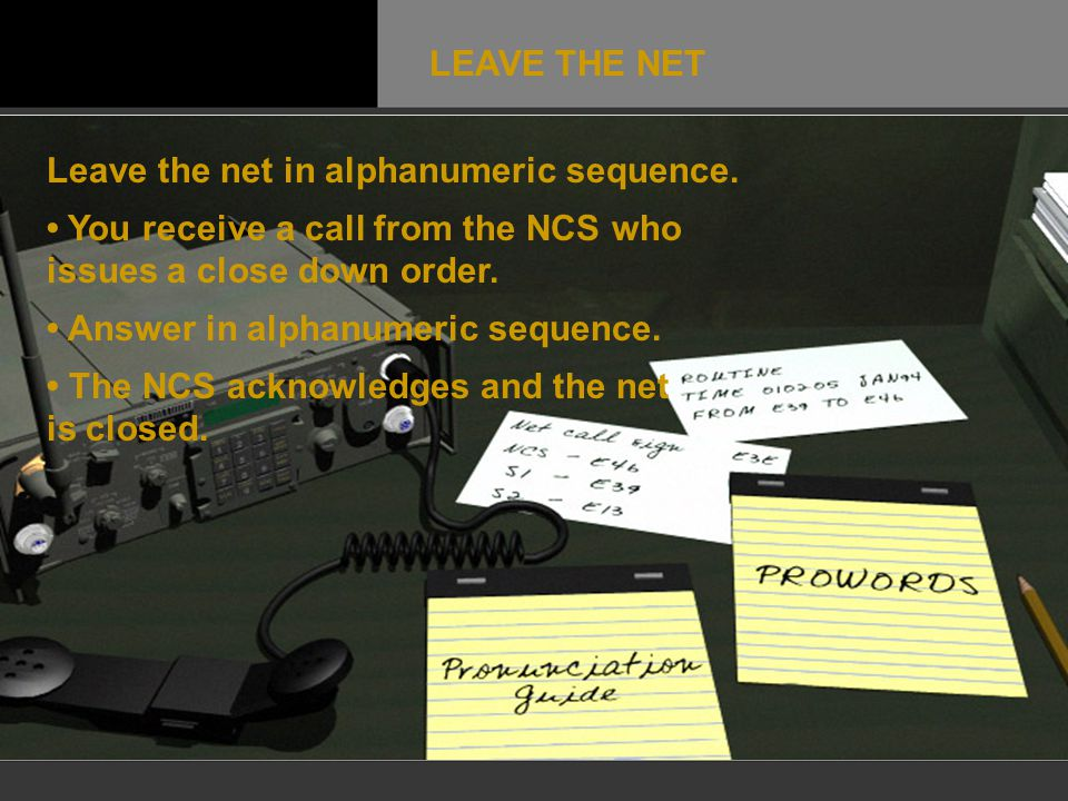 LEAVE THE NET Leave the net in alphanumeric sequence. • You receive a call from the NCS who issues a close down order.