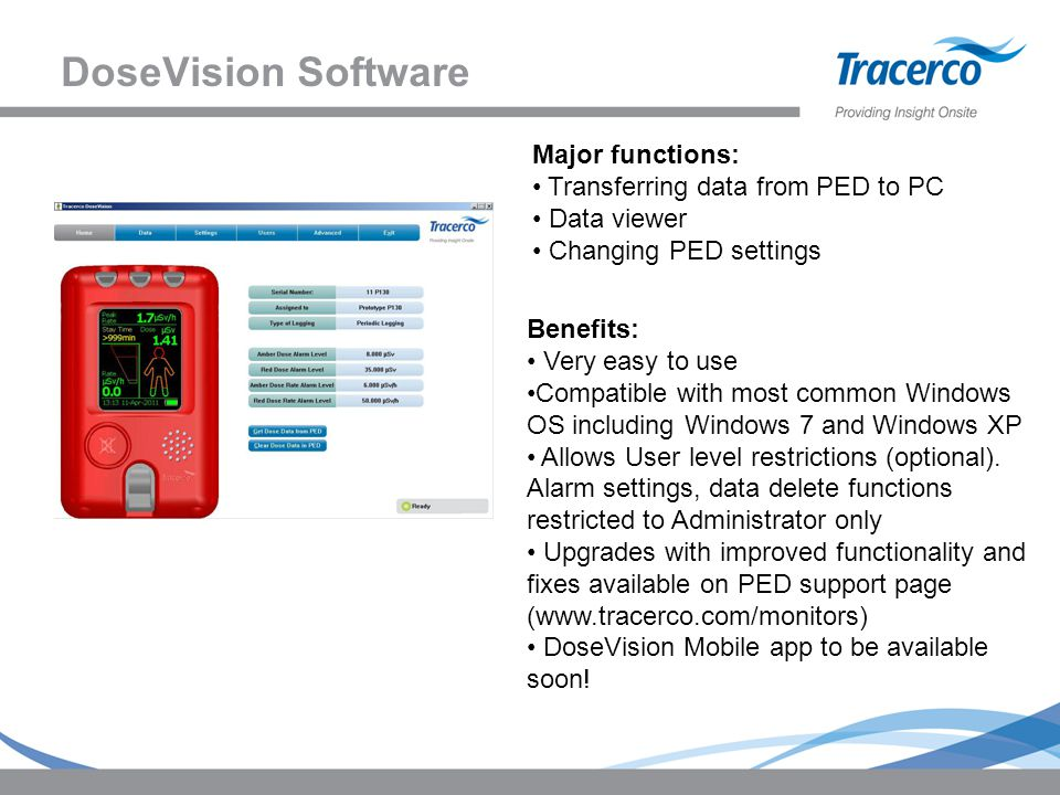 DoseVision Software Major functions: Transferring data from PED to PC