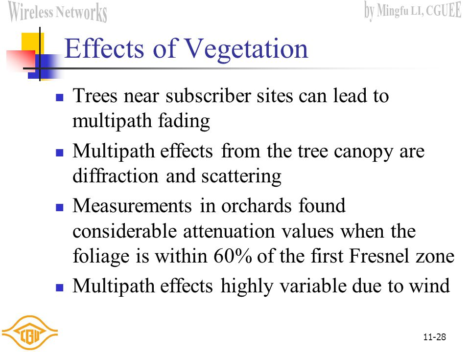 Effects of Vegetation Trees near subscriber sites can lead to multipath fading.
